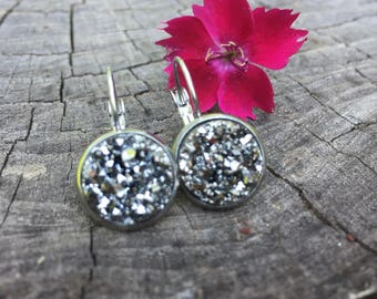 Dark Silver Druzy Leverbacks . Earrings