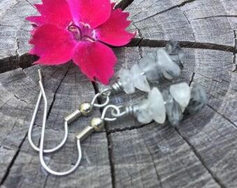 Tourmalinated Quartz Gemstone Chips . Earrings