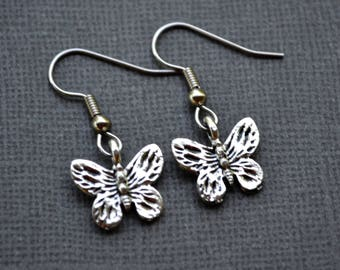 Silver Butterflies . Earrings