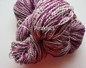 "Custom Yarn - ""Purple People Eater"" -  250 yards, 11.6 Ounces, Single Skein - Purple and White Multi Strand Cotton Acrylic Yarn Bulky Boucle"