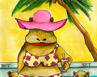 Mrs. Hippo's Holiday-ACEO- Colorful & Whimsical Giclee Animal Art Print by SQ Streater