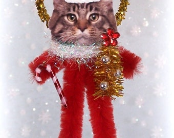 Maine Coon Cat Chenille Ornament Feather Tree