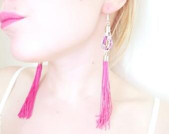 Tassel Hoop Earrings - Liberty Print Jewelry - Pink  Statement Earrings - Long Tassel Earrings - Floral Jewelry - Purple Hoop Earrings