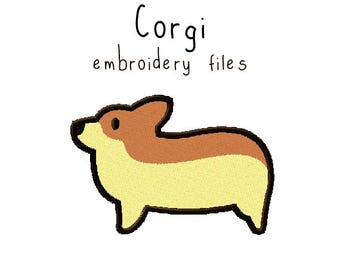 Corgi EMBROIDERY MACHINE FILES Instant Download multiple sizes dog puppy pup design pattern digital kawaii cute