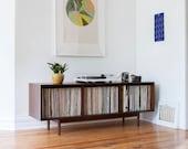 Mid Century Large Record Storage Cabinet // Console // 300+records // Walnut