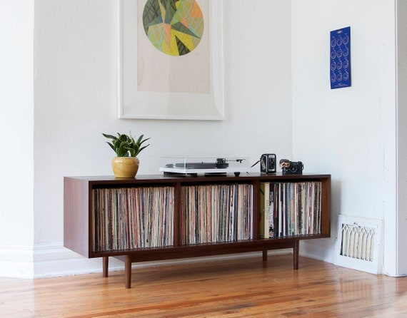 mid century large record storage cabinet console. Black Bedroom Furniture Sets. Home Design Ideas