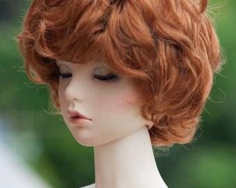 "8-9"" Size Short Reddish Brown Curly Wig for Volks 1/3 BJD SD Dolls"