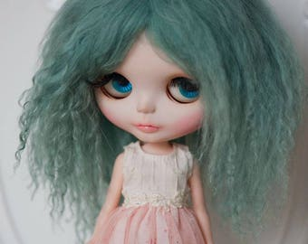 Slate Green Dark Green Tibetan Mohair Wavy Wig for Blythe (Non-Elastic Size)