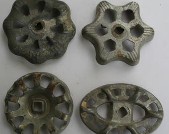 Vintage Valve Handles-4 Silver~ Shipping Special ~Industrial Handles~Industrial Chic~recycled found art~Altered Art~Shabby Chic Knobs
