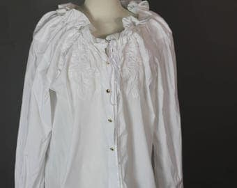 Vintage Blouse Homemade Poet Blouse Drawstring Ruffle Collar Romantic Pirate Button Up Top