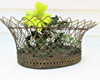 Vintage Large Brass Basket | Brass Wire Basket | Metal Planter Basket | Brass Container
