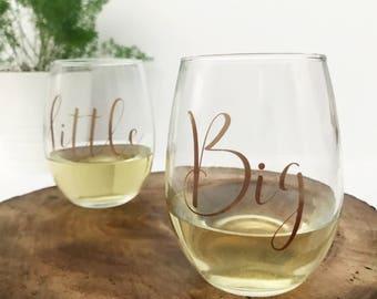 Big Little Wine Glasses / Stemless Wine Glass / Big Little Sorority / Bid Day Gift / Sorority Gifts / Big Little Reveal / Sorority Sister