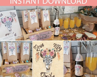 Boho Party Collection DIY Printable Kit - INSTANT DOWNLOAD