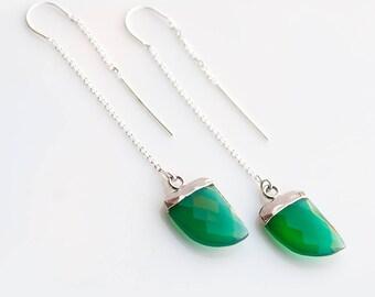 Gemstone Horn Threader Earrings - Silver Green Onyx Earrings - Silver Ear Thread Earrings - Ear Threader Earrings - Minimal