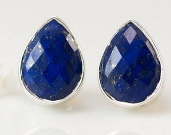 Lapis Stud Earrings - September Birthstone Studs - Gemstone Studs - Tear Drop Studs - Gold Stud Earrings - Post Earrings