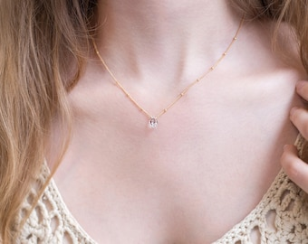 Raw Diamond Bridal Necklace, Delicate Satellite Chain, Bridesmaid Gift, Dainty Herkimer Diamond, Elegant Necklace, Dew Drop Chain, Birthday