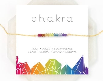 Chakra Gift Necklace, 7 Chakras Balancing Necklace, Healing Crystal Necklace, Yoga Jewelry, Chakra Stones, Rainbow Necklace, Boho Necklace