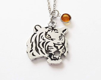 Tiger Necklace, Bengal, Siberian, Wild Animal Jewelry, Gift For a Man, Birthday Gift, Silver Jewelry, Swarovski Channel Birthstone Crystal