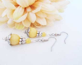 Yellow Earrings Sterling Silver, Bridesmaids Gift, Spring Wedding Jewelry Clip On Earrings, Boho Bridal Earrings Handmade, Gift for Mother