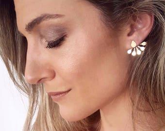 ear jackets gold stud earrings two sided earrings