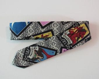 Loteria Skinny Tie in Black, Multi Color // Novelty Cotton Tie