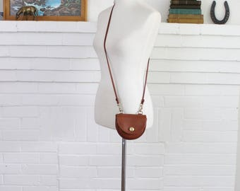 Vintage Coach Bag // Mini Messenger Crossbody Belt Bag in British Tan Purse Handbag