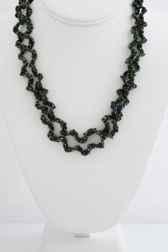 Long Iridescent Olive Green Gold Necklace
