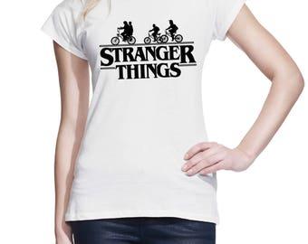 Stranger Things Inspired Shirt TV Series Hawkins Eleven Mike Will Lucas Dustin Ride Bike Demo-dog Women Teen Girl Tee Shirt T-Shirt #IZWWS66