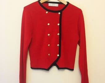 1980s Red, military inspired, double breasted cardigan