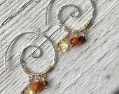 Simple, dainty spiral hoop earrings with citrine, amber and tourmaline