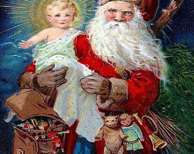 """A Merry Xmas,  5"""" x 7"""" Greeting Card with Envelope, Santa, Baby Jesus, Christmas Card, Pretty Girl Postcards, Victorian"""