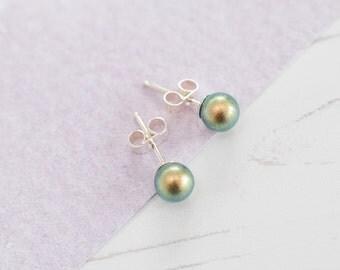 Green Stud Earrings, Green Bridesmaid Earrings, Green Earrings, Green Pearl Studs, Green Wedding, Green Wedding Accessories, Green Studs