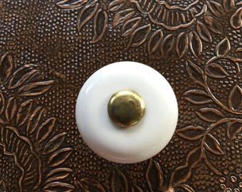 White Porcelain Knob w/ Brass Center Metal Insert & Base Vintage Round Pull ~ #A2730