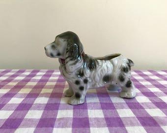 vintage gray spaniel dog planter