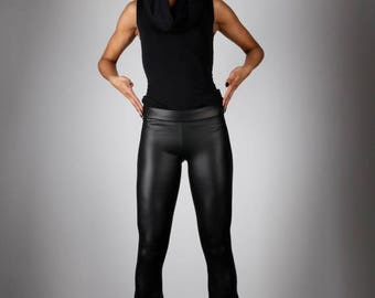 Yearly Sale: Flare Leather Leggings w. Jeans Back, Matte Black Bootcut Spandex Pants, Glam Rock Stage Wear, Heavy Metal Clothing, by LENA QU