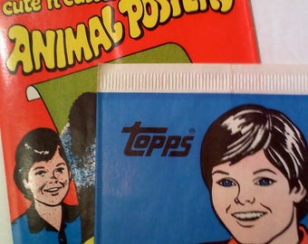 Vintage TOPPS Animal Poster and Temporary Tattoos