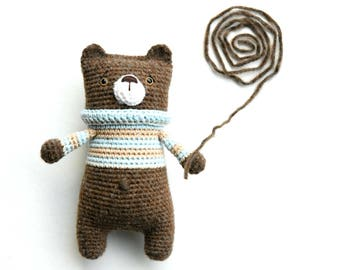 PATTERN - Lazybones bear - amigurumi crochet pattern, PDF (English)