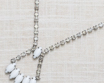 Vintage Rhinestone Necklace White Marquee Crystal & Silver Costume Jewelry 7AA 11