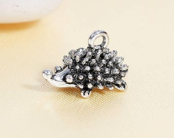 4 Hedgehog Charms in Silver Tone - C2613