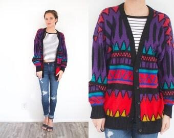 Vintage aztec tribal print cardigan // boho navajo sweater // winter sweater // Christmas sweater // tribal print sweater oversized sweater