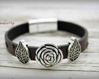 Leather bracelet punk bracelet women men unisex bracelet with silver rose flower and leaves details magnetic closure bracelet leather gift