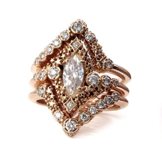 Stardust Marquise Constellation Engagement Ring Set - with Matching Stacking Diamond Chevrons