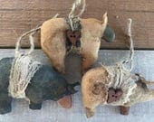 primitive animal ornament collection - primitive sheep ornaments - primitive bear ornaments - pig ornaments - country primitive decor