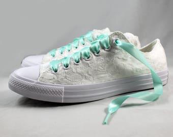 Monochrome White and Aqua Bridal Converses  --Lace Converse -- Wedding Tennis shoes  - Wedding Converse