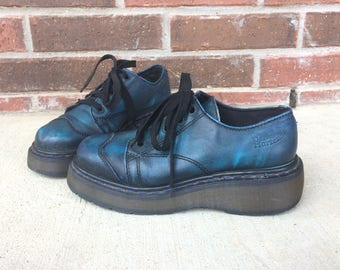 vtg 90s COSMIC BLUE Doc MARTENS leather Brogues 7 lace up England chunky platforms Dr Marten oxford grunge goth punk