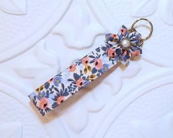 Key Fob - Key Fob Keychain - Key Chain - Key Fob Wristlet - Wristlet Lanyard -  Key Holder - Floral Keychain
