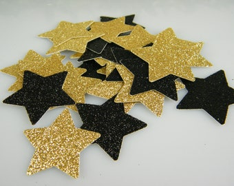 Star Confetti Gold & Black Glitter | Graduation, New Years Eve, 50th Birthday Party Decorations | Table Scatter | Gold Party Decor