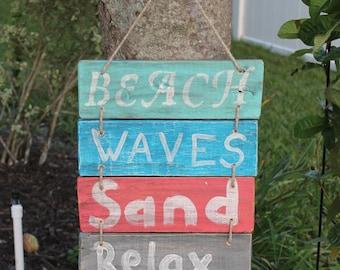 Handmade Pallet Sign Beach Waves Sand Relax, Wood Sign, Beachy