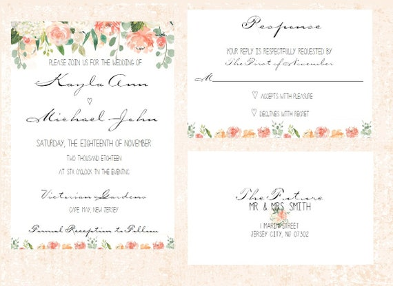 Simple Wedding Invitation, Elegant Wedding Invitation, Blush Wedding Invitation, Floral Wedding invitation
