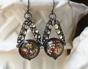 Free Spirit- Antique Reverse Painted Glass Assemblage Earrings- Oxidized Sterling Silver- Rhinestones- Meadow Flowers- Dangle- Vintage